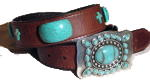 Brown Ladies belts with Turquoise Stones by SSM™ Belts