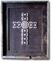 Large Pearl Stone Butterfly Framed Cross