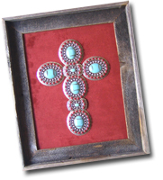 Large Turquoise & Red Butterfly Framed Cross
